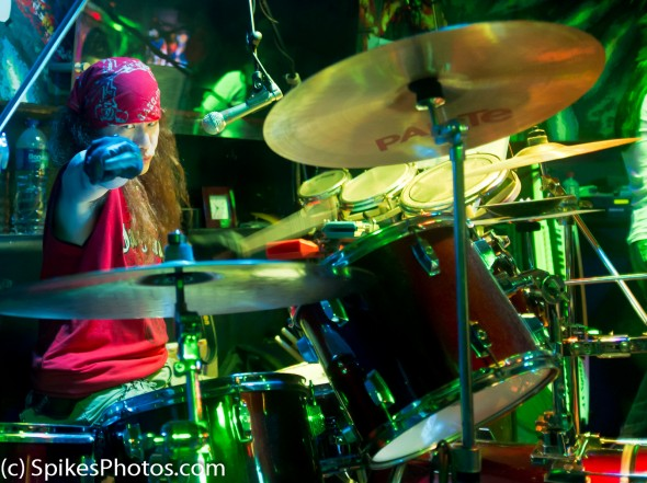 Kerr, drummer for Icebox, at Amazonia in Hong Kong